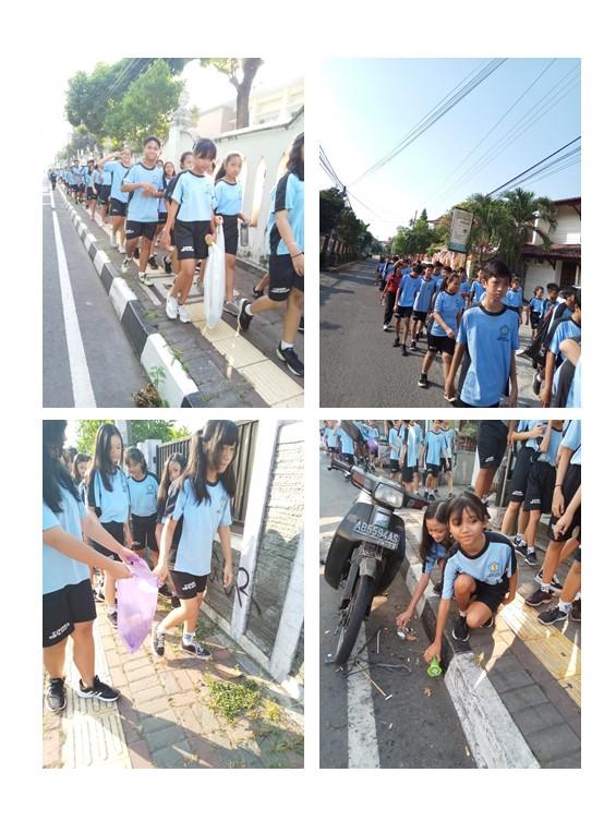 Kegiatan Jalan Sehat Peduli Lingkungan SMP Pangudi Luhur 1 Yogyakarta